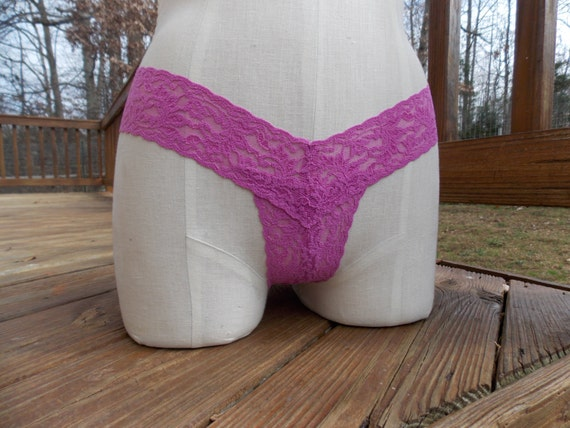Thong Panties in Orchid Pink Stretch Lace