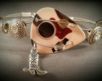 """Guitar String and Guitar Pick Bracelet """"Country Western"""""""