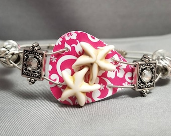 """Guitar String and Guitar Pick Bracelet """"Hybiscus Starfish"""""""