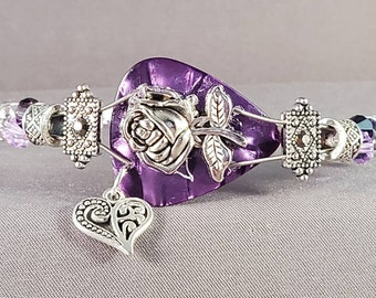 "Guitar String and Guitar Pick Bracelet ""Purple Rose"""