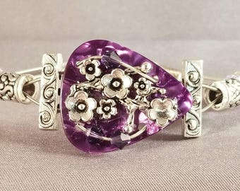 """Guitar String and Guitar Pick Bracelet """"Purple Floral Chain"""""""