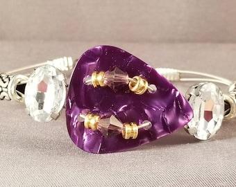 "Guitar String and Guitar String Bracelet ""Purple Bling"""