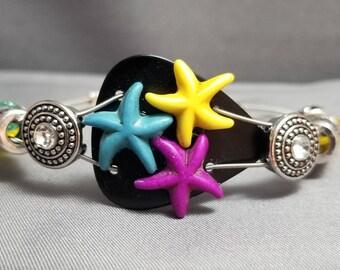 "Guitar String and Guitar Pick Bracelet ""Black Starfish Trio"""