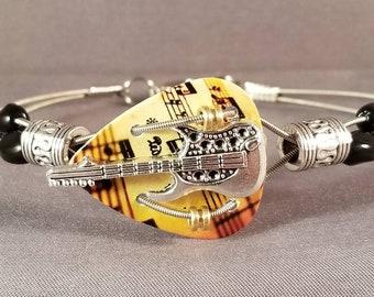 "Men's Guitar String and guitar pick bracelet ""Amber Notes Guitar"""