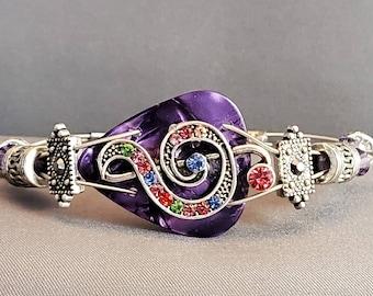 "Guitar String and Guitar Pick Bracelet ""Purple Musical Rainbow"""