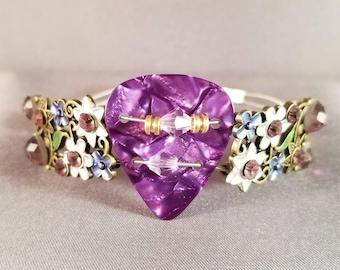 "Guitar String and Guitar Pick Bracelet ""Purple Floral"""