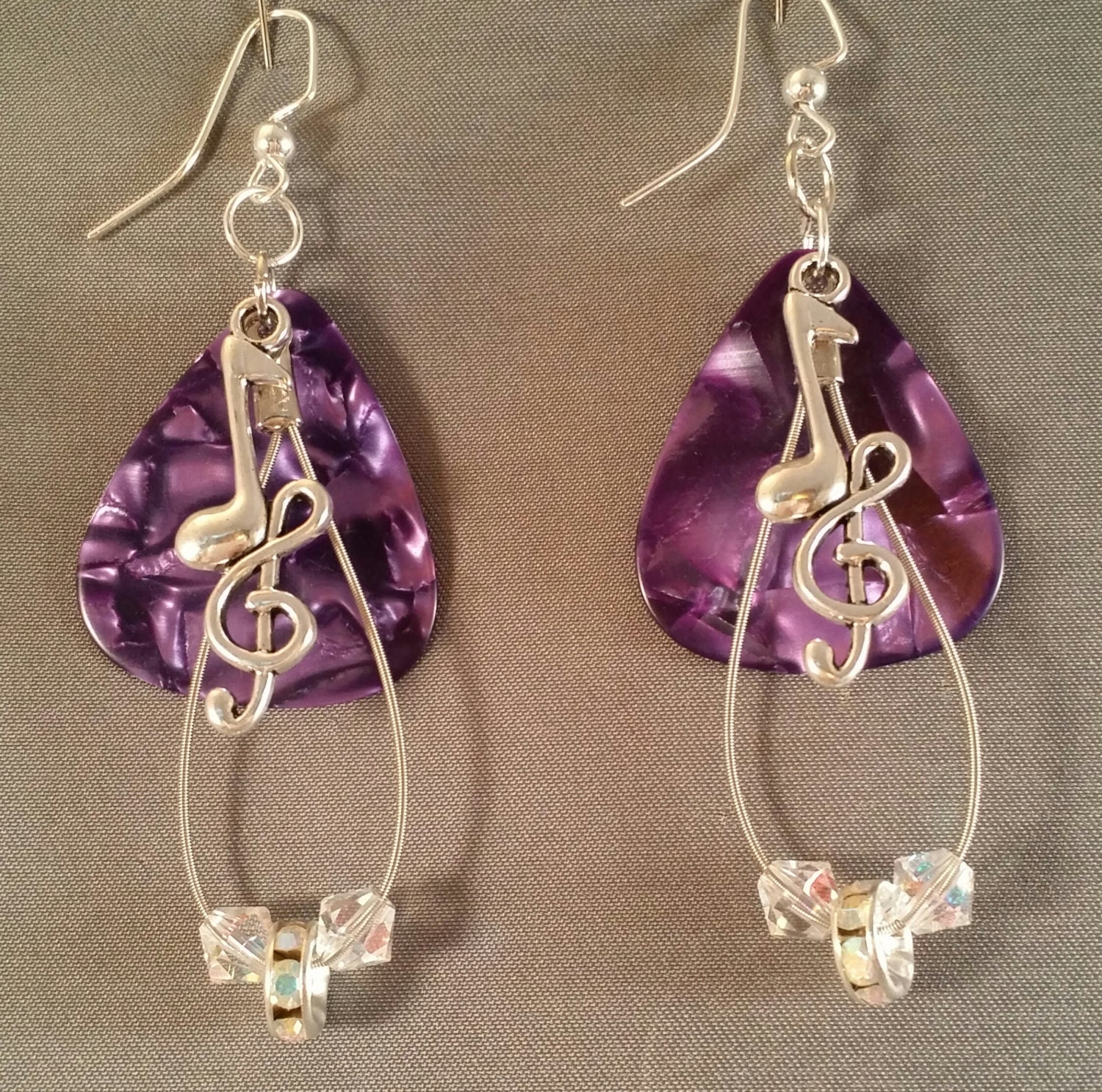 guitar pick and guitar string earrings love purple etsy. Black Bedroom Furniture Sets. Home Design Ideas