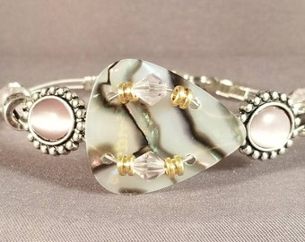 """Guitar String and Guitar String Bracelet """"Pretty Pink Abalone"""""""