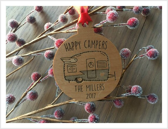 image 0 - Happy Campers Trailer Ornament Personalized Christmas Etsy