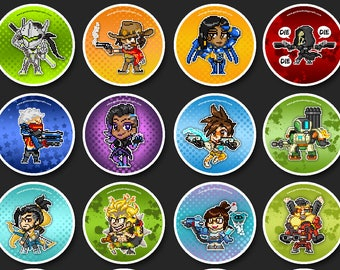 """Overwatch Hero Pins - 1.5"""" Pin Buttons or Magnets"""