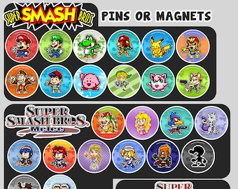 "Super Smash Bros Pin Badge Buttons or Magnets   Nintendo Pixel Art 1.5"""