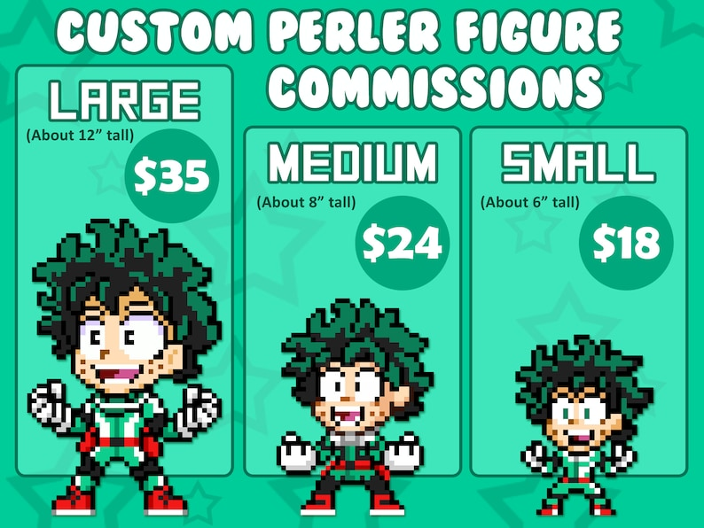Perler Figure Commissions  3 Pixel Art Styles  You Pick Any image 0