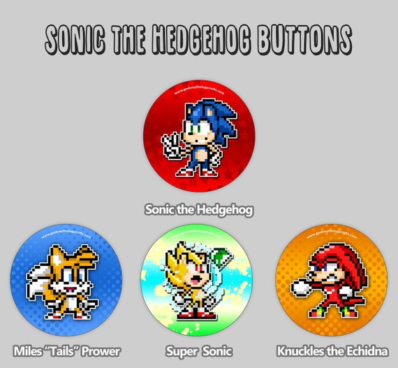 Sonic The Hedgehog Buttons Sonic Mania Pixel Art 1 5 Etsy