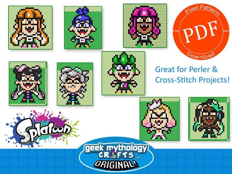 Perler Pattern Pack Splatoon Inklings Pixel Art Fuse Bead Or Cross Stitch Projects