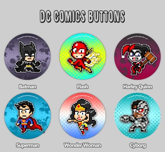 Dc Comics Buttons Pixel Art 15 Pin Badges Batman Flash Harley Super Man Wonder Woman Cyborg