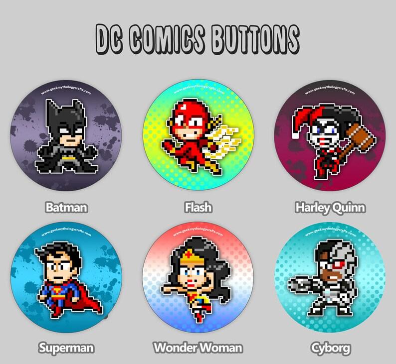 DC Comics Buttons  Pixel Art 1.5 Pin Badges  Batman image 0