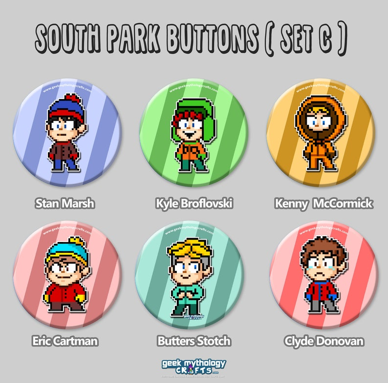 South Park Pin Buttons  1.5 Pixel Art  Set C image 0