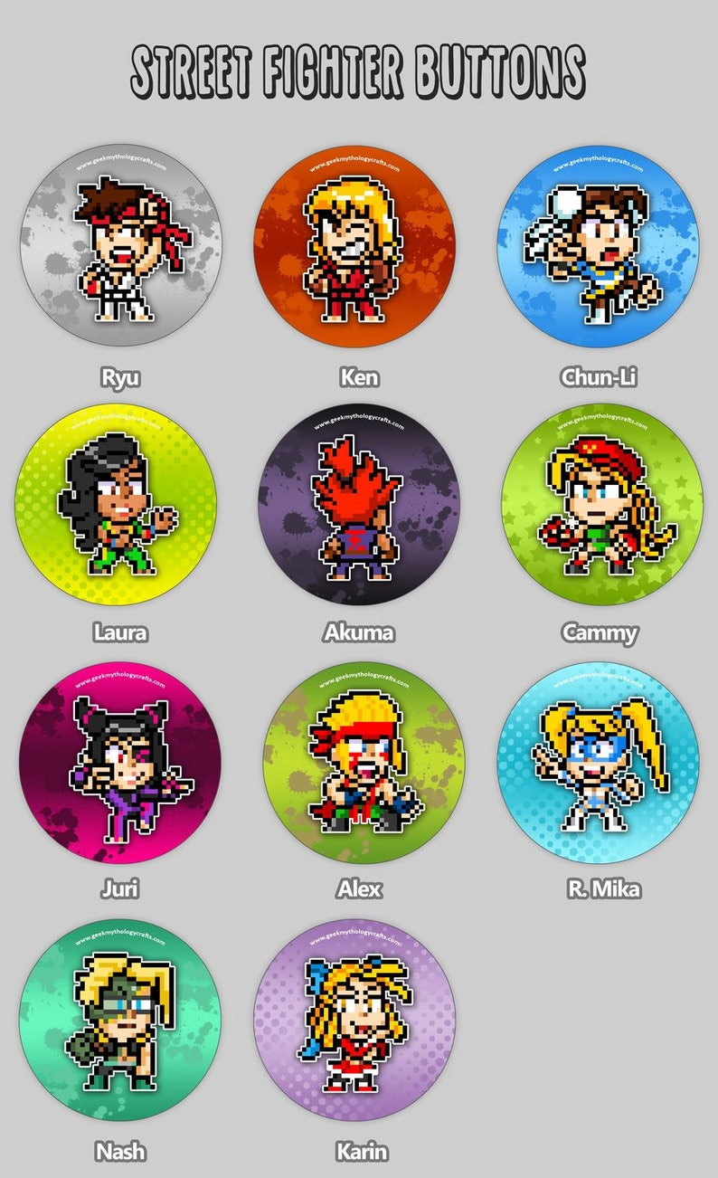 Street Fighter Pixel Art Buttons  1.5 image 0