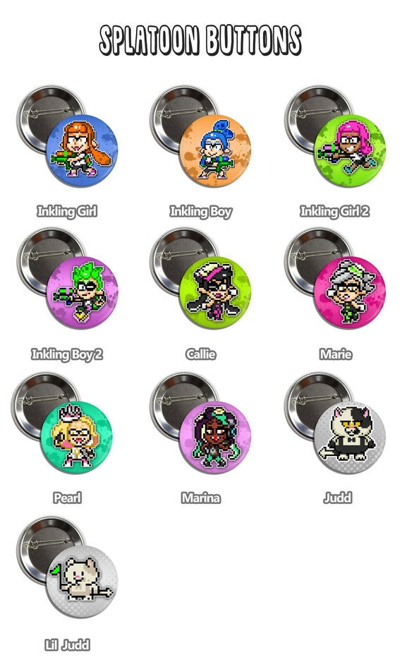 Splatoon Buttons Nintendo Pin Badges Pixel Art Inklings Callie Marie Pearl Marina