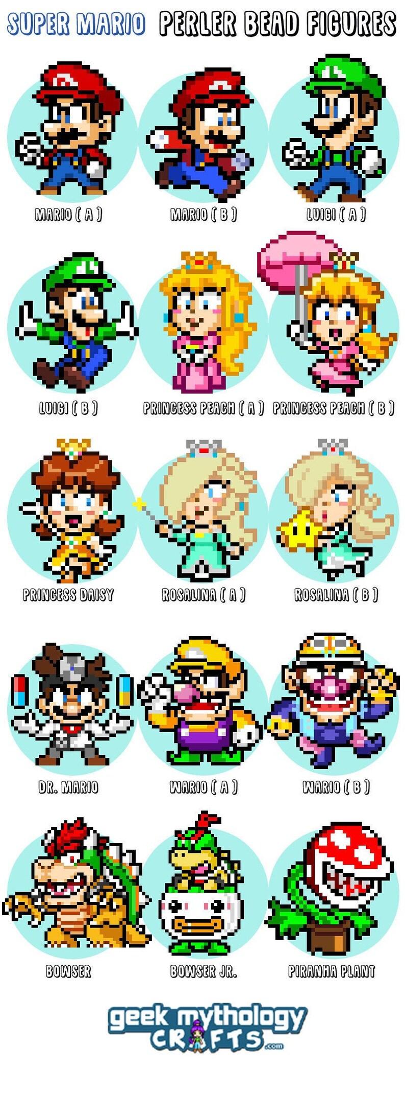 Super Mario Figures  Smash Bros  CUSTOM Fuse Bead Pixel Art image 0