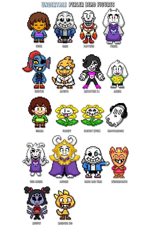 UNDERTALE Figures  CUSTOM Perler Fuse Bead Sprite Pixel Art image 0