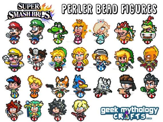 Super Smash Bros Figures Perler Bead Sprite Fighting Game Etsy
