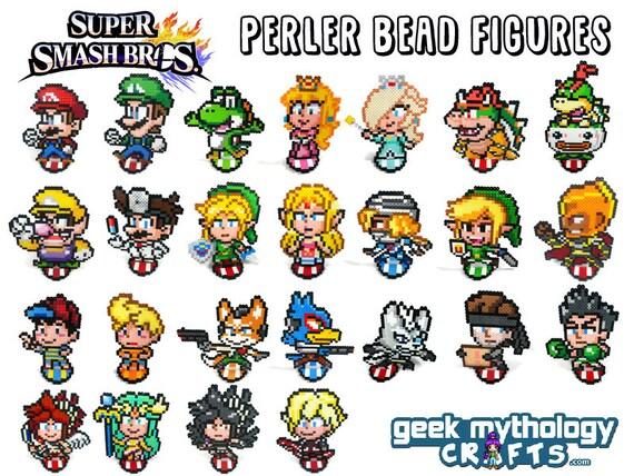 Map Placeholder Dark Symbol: Super Smash Bros Perler Bead Sprite Pixel Art Figure Stand