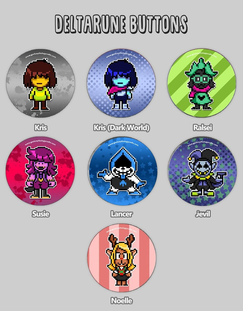 Deltarune Buttons  1.5 Pixel Art Pin Badges or Magnets image 0