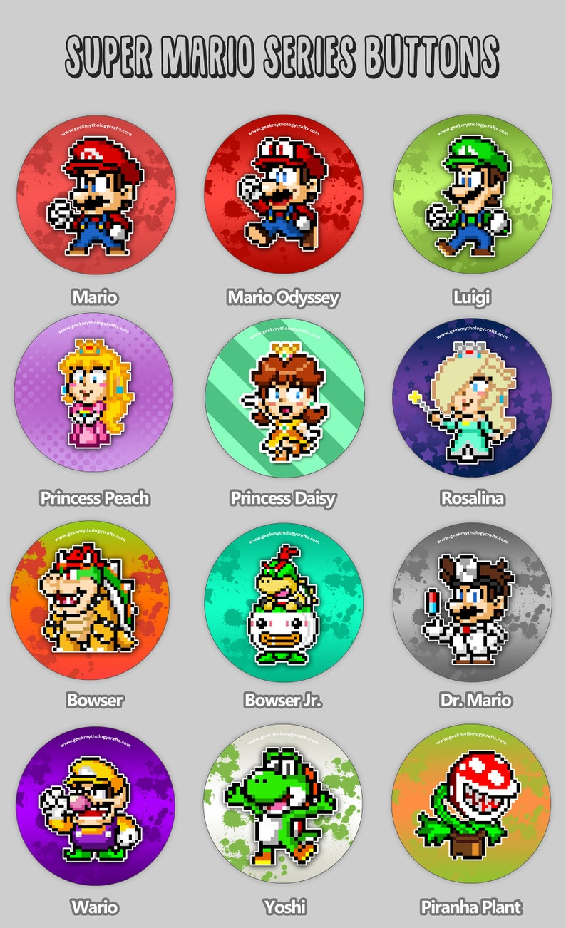 Super Mario Buttons  Super Smash Bros  1.5 inch Pin Badges  image 0