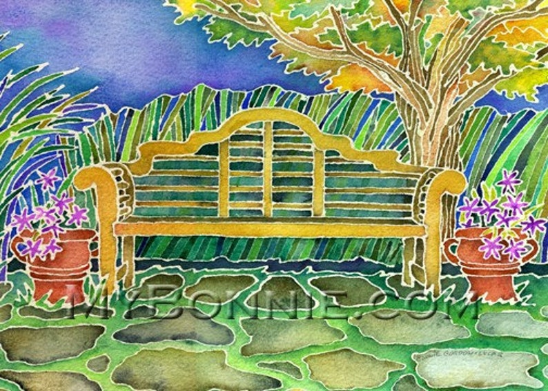 Chairs Dance Nature Sunrise GARDEN FLOWERS Note Cards American Greetings Artist Bonnie Gordon-Lucas New Greeting Cards