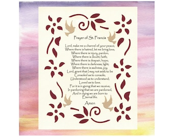 Prayer of St. Francis Inspirational Art Wall Art Paper Cut Design Border Birds Flowers 8X10 Unframed