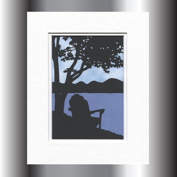 Adirondack Chair by Lake, Wall Art, Nature Scenery Silhouette, Paper Cut,  8X10 Unframed