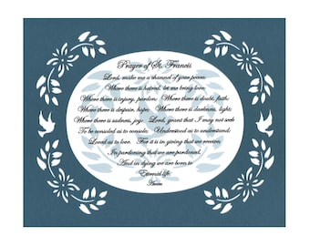 Prayer of St. Francis Inspirational Wall Art Blue Green Wall Decor Paper Cut Leaf/Floral/Birds Design 8X10 Unframed