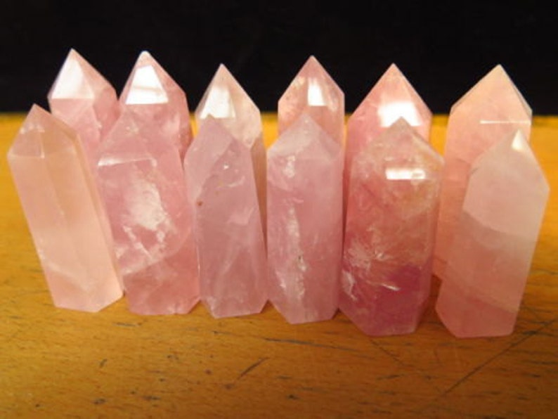Rose Quartz Crystal natural polished prism - wire wrap jewelry piece  display - pink crystal point flat bottom natural 2 to 2 5 inch stone