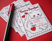 Printable Kitty Valentines to Color