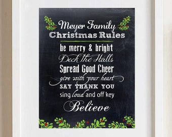 Personalized Family Christmas Rules Print 8x10