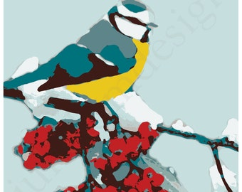 PRINTABLE Winter Bluebird Print PDF 8x8