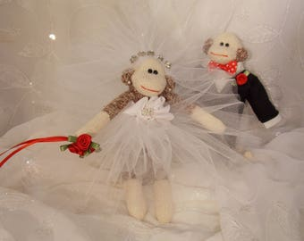 Sock Monkey Wedding Cake Topper~Miniature Sock Monkey Couple~Bride and Groom Sock Monkey~Sock Monkey Wedding Decoration