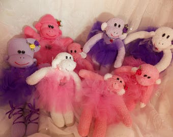 Handmade Ballerina and Cupcake Teeny Sock Monkeys, 7-8 Inches,Collectible, Made from Baby Recycled Socks. OOAK. Last Set.