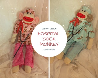 Doctor Nurse Sock Monkey, Hospital Sock Monkey, Scrubs, Surgeon Hat, Stethescope Included.  LIMITED EDITION by auntyanndesigns