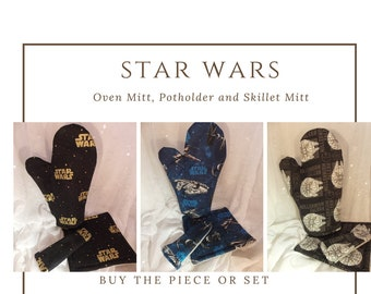 Star Wars Oven Mitts, Black and Gold Star Wars Kitchen, Geek Party, Star Wars Kitchenware, Geeky Tableware