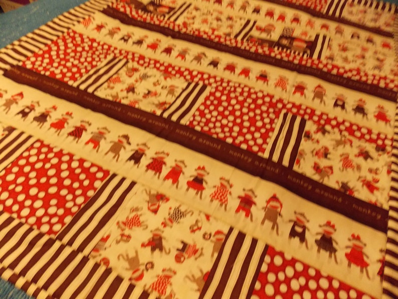 Sock Monkey Baby Toddler Quilt~Quilting Treasures Sock Monkey~Handmade Baby Toddler Quilt~Nap Time Quilt