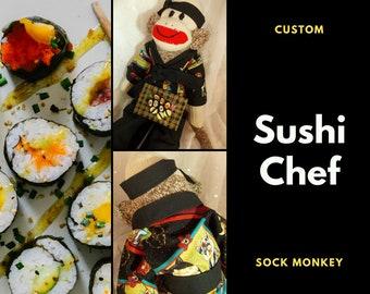SUSHI SOCK MONKEY~Custom Designed Sock Monkey by auntyanndesigns~Sushi Chef Monkey