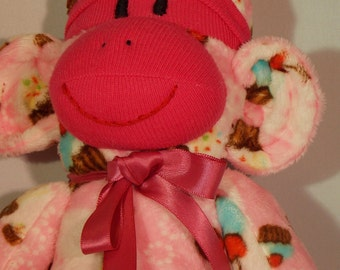 Cupcake Minkee Sock Monkey Super Soft Cupcake Sock Monkey Cupcake Minkee Monkey Soft Plush OOAK Limited Edition by auntyanndesigns.