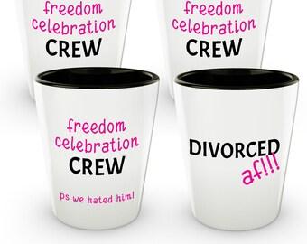divorced af shot glass freedom crew set gag gifts for newly divorced women set of 4