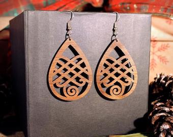 Ariel Laser Cut Wood Earrings