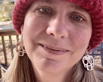 Sugar Skull Wood Earrings