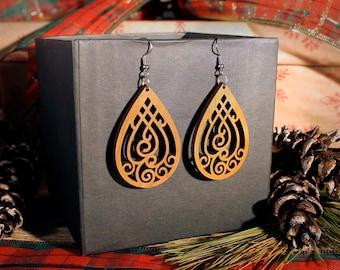 Queen Jane Laser Cut Wood Earrings