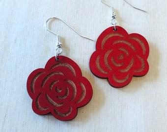 Rose Wood Earrings