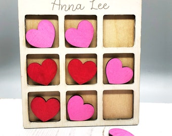 Personalized Wooden Tic-Tac-Toe Game Valentine's Day, kids game, handmade travel size, great gift idea